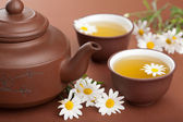 Green tea with chamomile flowers — Stock Photo