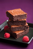 Brownies with raspberry — Stock Photo
