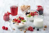 Healthy breakfast with yogurt and granola — Stock Photo
