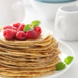 Royalty-Free Stock Photo: Pancakes with honey and raspberry