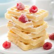 Waffle with raspberry and icing sugar  — Stock Photo
