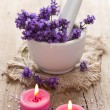 Spa set with lavender flowers — Stock Photo #27039817