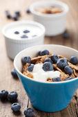 Cornflakes with blueberry and yogurt — Stock Photo