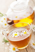 Cup of herbal tea with chamomile flowers — Stock Photo