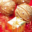 Golden christmas gifts and decoration — Stock Photo #30851163