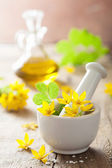 Mortar with flowers and herbs — Stockfoto