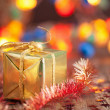 Golden christmas gifts and decoration — Stock Photo #33626297