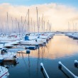 Winter view of a marina in Trondheim — Foto de Stock