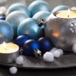 Christmas decoration on vintage tray — Stockfoto #34236223