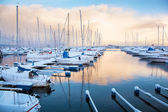 Winter view of a marina in Trondheim — Foto Stock