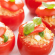 Stock Photo: Stuffed baked tomatoes with couscous and feta