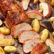 Pork baked with vegetables on a tray  — Stock Photo