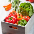 Various fresh vegetable in box — Stock Photo
