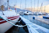 Winter view of a marina in Trondheim — Stock Photo
