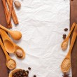 Blank paper for recipes over wooden background with coffee and s — ストック写真