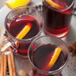 Stock Photo: Mulled wine with orange and spices