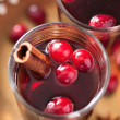 Stock Photo: Mulled wine with cranberry and spices