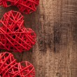 Red hearts over wooden background for Valentines day — Stock Photo #38764945
