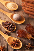 Spices cinnamon anise nutmeg rock sugar coffee — Stock Photo