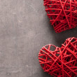 Red hearts over wooden background for Valentines day — Stock Photo