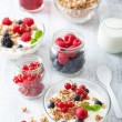 Stock Photo: Healthy breakfast with yogurt berry granola