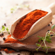 Red ground paprika spice in wooden scoop — Stock Photo #40135303