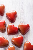 Red chocolate hearts for Valentines Day — Stock Photo