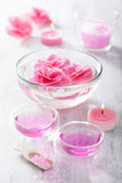 Pink flower salt and essential oil for spa — Stock Photo
