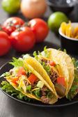 Taco shells with beef and vegetables  — Stock Photo