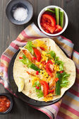 Mexican tortilla with chicken breast and vegetables  — Stock Photo