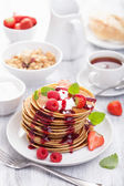 Pancakes with berry and jam for breakfast — Foto Stock