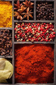 Spices in box pink and black pepper ground paprika curry ani — Stok fotoğraf