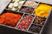 Spices in box pink and black pepper, ground paprika, curry, anise — Stock Photo