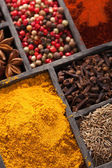 Spices in box pink and black pepper, ground paprika, curry, anise clove cumin — Stock Photo