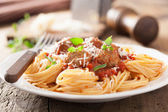 Spaghetti with meatballs in tomato sauce — Stock Photo