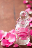 Perfume bottle and pink rose flowers. spa aromatherapy  — Photo