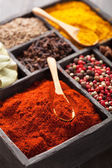 Spices in box pink  black pepper, paprika powder, curry — Stock Photo