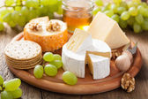 Cheese plate with camembert, cheddar, grapes and honey — 图库照片