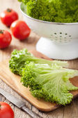 Fresh lollo leaves and tomatoes on chopping board for salad — Foto Stock