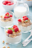 Healthy breakfast with yogurt granola and raspberry  — Stock Photo