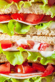 Sandwich with ham tomato and lettuce background — Stock Photo