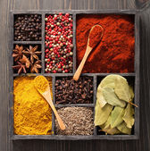 Spices in box pink and black pepper, paprika powder, curry, bay  — Stock Photo