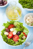 Healthy salad with tomatoes olives and feta cheese  — Stock Photo