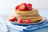 Pancakes with berry and honey — Stok fotoğraf