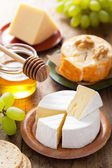 Cheese plate with camembert, cheddar, grapes and honey — Stock Photo