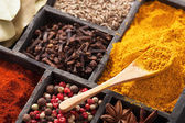 Spices in box pink black pepper, paprika powder, curry, bay lea — Stock Photo