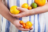 Man hands holding various citrus fruits  — Stock Photo