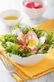 Healthy salad with egg radish and green leaves — Stock Photo