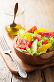 Healthy salad with tomatoes cucumber and pepper — Stock Photo