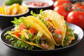 Mexican taco shells with beef and vegetables  — Foto de Stock